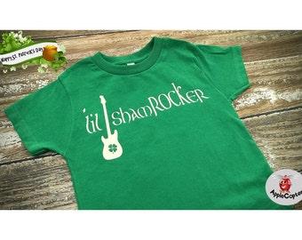 Lil Shamrocker St. Patrick's Day Shirt, Boys Green Rocker Shirt, Cool St. Patrick's Day Baby Outfit, Baby Boys Guitar Shirt, Applecopter