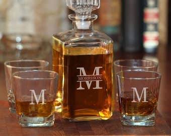 5-Piece Whiskey Decanter Set with Block Name and Initial (e101-1210-2) - Free Personalization