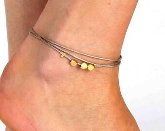 Beige Anklet - Multistrand Ankle Bracelet - Gold Anklet - Foot Jewelry - Foot Bracelet - Chain Anklet - Summer Jewelry - Beach Jewelry
