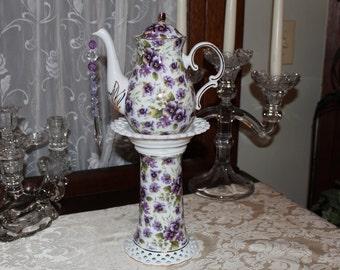 Purple Pansy/Floral Teapot Standing Centerpiece, Lavender/Lilac Vase, Bridal/Baby Shower, Wonderland Mad Hatter Tea Party Decoration