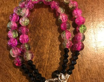 Pink and green beaded bracelet ALL proceeds benefit French Camp Academy.