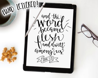 Bible Verse SVG Cut File • John 1:14, And the Word Became Flesh, Clip Art Download, Calligraphy, DIY Sign, Bible Verse Printable Overlay