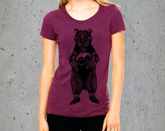 Womens Tribal GRIZZLY BEAR T Shirt)Native American Clothing,Mountains Shirt-Graphic Tee-Girlfriend Gift-Birthday Gifts,instagram likes
