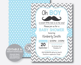 Instant Download, Editable Mustache Baby Shower Invitation, Mustache Invitation, Little Man, Boy Baby Shower, Blue Gray Chevron (SBS.22)