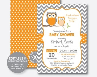 Instant Download, Editable Owl Baby Shower Invitation, Orange Owl Invitation, Boy Girl Baby Shower, Baby Sprinkle, Orange Chevron (SBS.47)