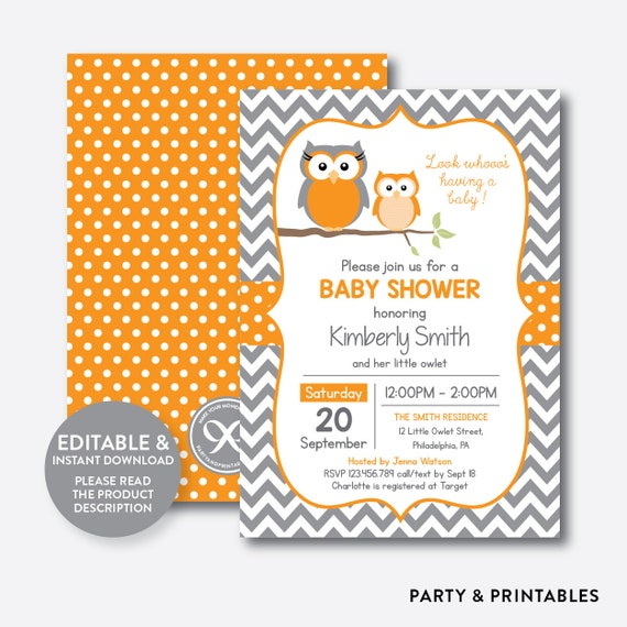 Instant download editable owl baby shower invitation orange owl il570xn filmwisefo