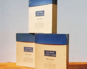 "Eastman X-Ray Films / 3 Photo Film Boxes from the 1940's  / Clean Inside / Holds 11"" by 14"" Film / Vintage Storage and Style"