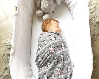 Baby Flannel Wrap - Penguins in Winter. Baby wrap, flannel swaddle, newborn wrap