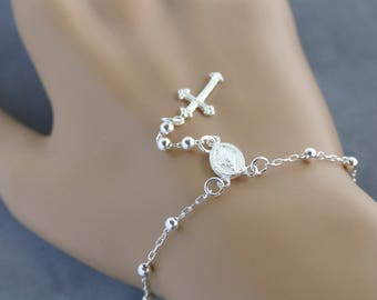 Sterling Silver Rosary Bracelet Best Religious Gift First Communion Confirmation Unique Craftsmanship