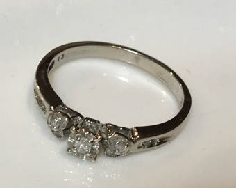 Saved for Cherry! 10k White Gold Diamond Promise Ring 2 Hearts Size 7
