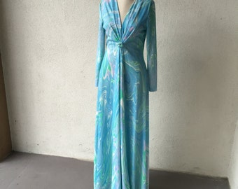 70s Blue Psychedelic Long Sleeve Maxi Dress