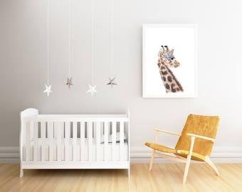 giraffe print, giraffe kids art, giraffe nursery, giraffe art for kids, nursery decor, safari nursery art, nursery safari decor, art prints