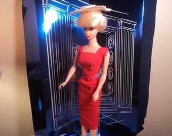 Vintage Barbie Sheath Sensation Red Dress and Straw Hat
