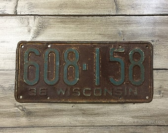 Vintage Wisconsin License Plate 1936 | Brown Green Rusty | Man Cave Decor | Old Collectible | For Him | Garage