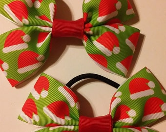 Christmas Santa Claus Hat Clippies/Christmas Pigtail Clips (Set of 2) MADE TO ORDER