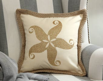 Starfish Decorative Pillow Cover, Beach House Pillow Cover, Beach Theme Pillow Cover,