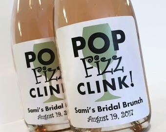 Pop Fizz Clink Bridal Shower Mini Wine Labels Wedding Bachelorette Party Labels Custom Mini Wine Bottle Mini Champagne Printed Labels