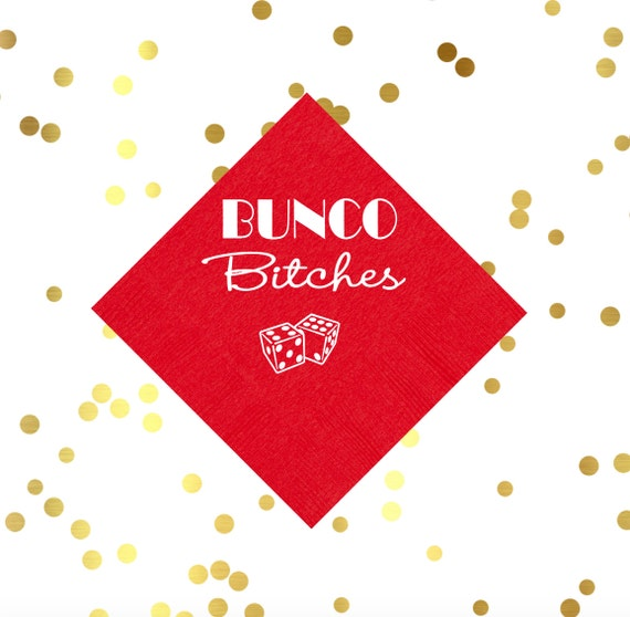 bunco napkins, bunko party, girls night party, card games, dice games, game night napkins