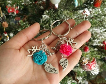 Best Friend, Boots, & Roses(colors of your choice) - Keychain Set