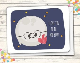 Love Card, Cute Moon Love, I Love You Card, Valentine's Greeting Card, Anniversary Card, Romantic Love Card, Romance Card, Card For Daughter