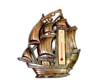 Copper Ship Alcohol Thermometer - 5.75 inches, Ship Thermometer, Ship Home Decor, Nautical Thermometer, Nautical Home Decor