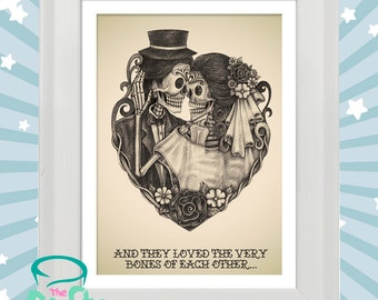 And they loved the very bones of eachother - sugarskull muerte tattoo style print in wooden frame. Wedding. Engagement