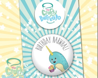 Birthday Narwhal! 5cm metal back button badge. Perfect addition for birthday cards!