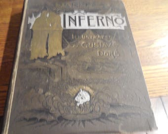 EXRARE Occult Dante Inferno Illustrated by Gustave Dore c1880 John W Lovell Company Folio Devil Wood Plates
