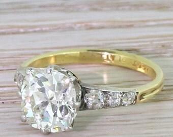 Art Deco 2.64 Carat Old Cut Diamond Engagement Ring, circa 1940