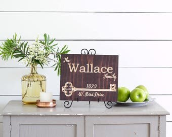 Our First Home Sign, New Home Housewarming gift, First Home Gift, Personalized Address Sign, Closing Gift, Carved wood sign, Horizontal9x11