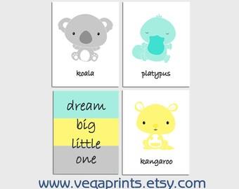 Aqua and yellow Australian animals nursery art print - UNFRAMED-  baby boy wall art,  kangaroo, koala, platypus, dream big little one