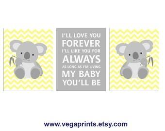 Light Yellow and Grey  koala nursery art print -UNFRAMED - neutral gender wall art, chevron, zigzag, I'll love you forever, quote, neutral