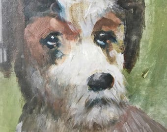 FREE SHIPPING - Vintage Oil Painting, Terrier, 1938