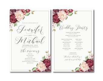 Vintage Floral Wedding Program, Vintage Floral, Floral Wedding, Vintage Wedding, Printable Wedding Program, Ceremony Order of Service #CL338