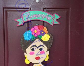 Frida Kahlo Decor- Frida Kahlo Wreath-Frida Door Hanger- Mexican Folk Art-Mexican Kitsch- Kitsch Art- Frida Wall Door Sign- Frida Wall Hang
