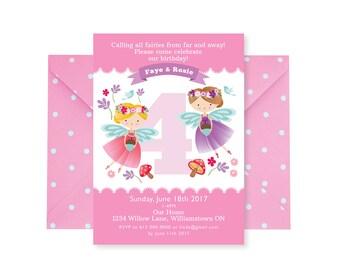 Twins Fairy Birthday Invitation, Twins Fairy Invitation, Fairy Party, Girls Birthday, Floral Fairy, Fairy Tea Party, Woodland Fairy