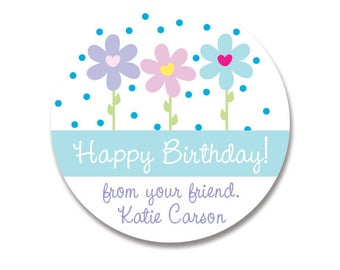 Flower Birthday Stickers, Kids Birthday Stickers, Personalized Gift Stickers, Birthday Favor Stickers, Sticker Girls, Custom Labels Gifts