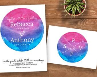 Sunset & Twilight Wedding Invitation | Engagement | Modern | Printable