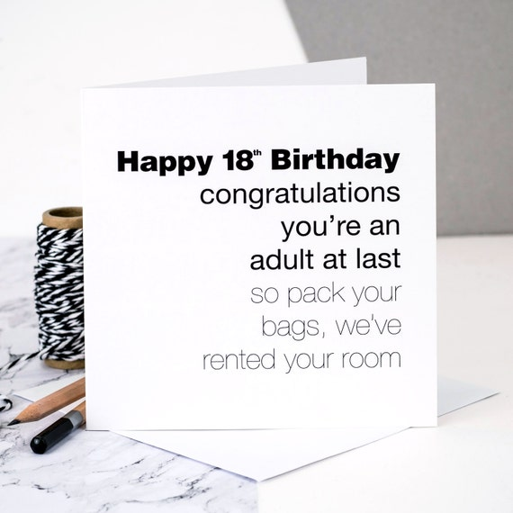 Funny 18th Birthday Card 'You're An Adult At