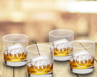 Personalized Low Ball Glass Set of 4 - Personalized Bar Glasses - Groomsmen Gifts - Personalized Low Ball Glasses