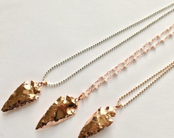Rose Gold Plated Arrowhead-Choose Your Chain