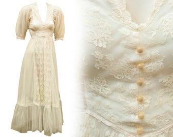 1960s Medium Dress Gunne Sax Fairy Fae White Hippie Boho Wedding Cream Lace Steampunk Edwardian Victorian Coachella Maxi Peasant Ren Faire