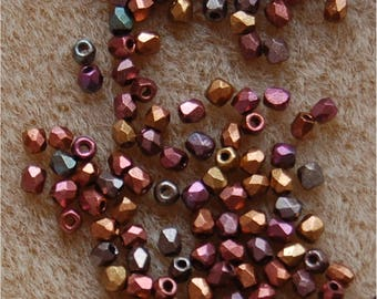 FIRE POLISH Beads, TRUE 2mm, Violet Rainbow, 00030/01640, sold in units of 150 beads.