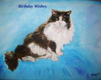 """Birthday Card Black and White Cat 7"""" x5"""" Blank inside for your own message"""