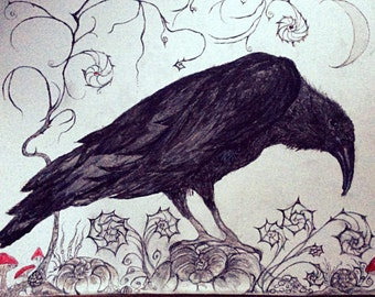 "Raven Greeting Card 8""x6"" From an Original Painting. Blank inside for your own message."