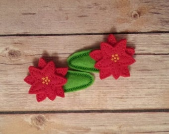 poinsettia snap hair clips