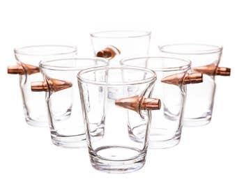 A Real Bullet Shot Glass. 308 Projectile Shot Glass. Groomsmen Gift. Unique Shot Glass. Set of 6