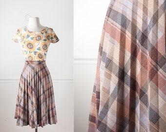 1970s Pleated Skirt, Earth Tone Accordion Pleat Skirt, High Waist Skirt, Midi Skirt, Minimalist Fashion, Plaid Skirt, Vintage 70s Skirt