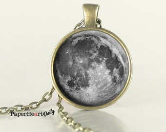 Full Moon Art Necklace - Full Moon Photo Necklace - Bronze Moon Necklace -  (B2016)