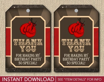 Boxing Birthday Favor Tags - Boxing Thank You Party Favor Tags - Printable Digital File - INSTANT DOWNLOAD